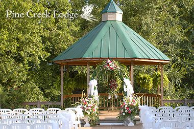 Pine Creek Lodge in Nacogdoches, TX - has outdoor ceremony and indoor reception location.  May be a possibility!