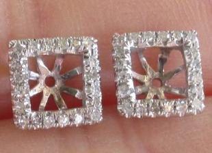 Diamond Earring Jackets For Princess Cut Gems By Mrosedesign 360 00