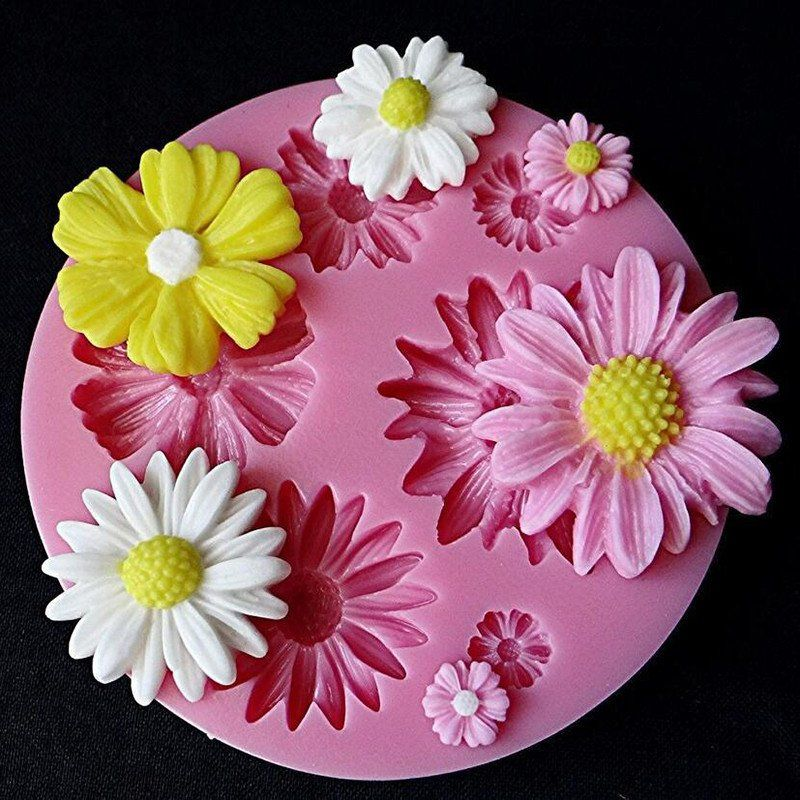 Rose Flower Petals Turn Sugar Cake Chocolate Decorative Silicone Mold Pink Colorful