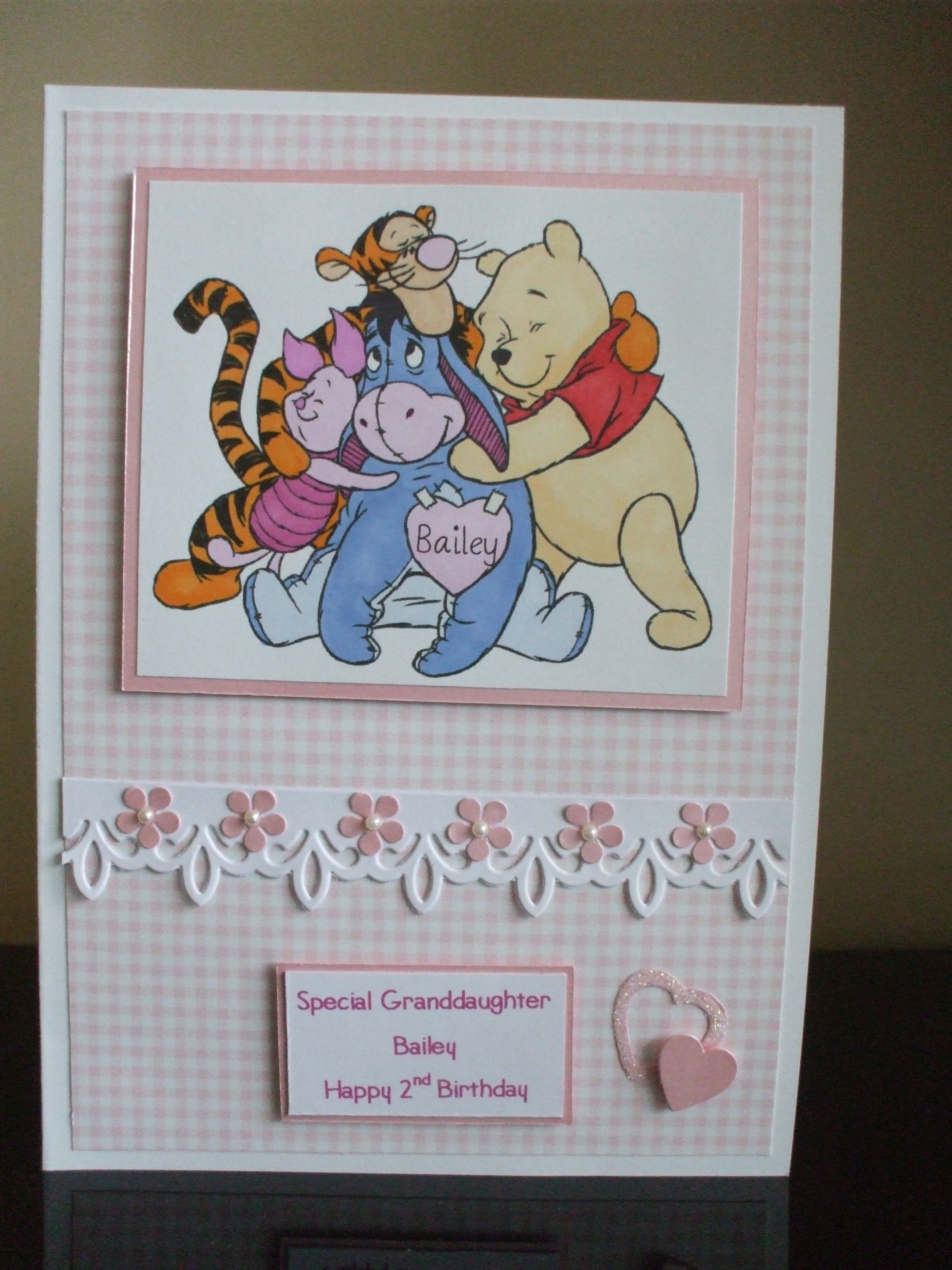 Handmade 2nd Birthday Card Granddaughter Winnie The Pooh Friends