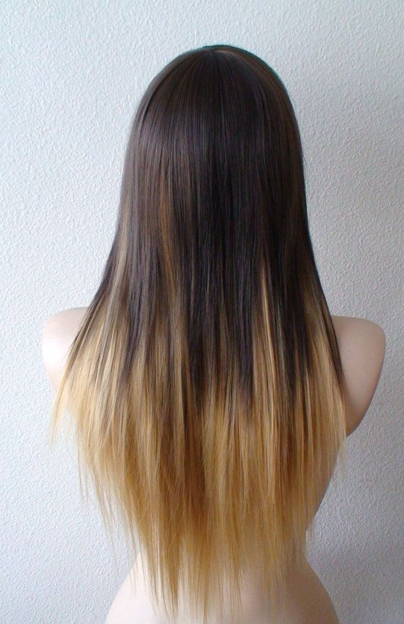 Brown Golden Blonde Ombre Wig Long Straight Hairstyle Quality