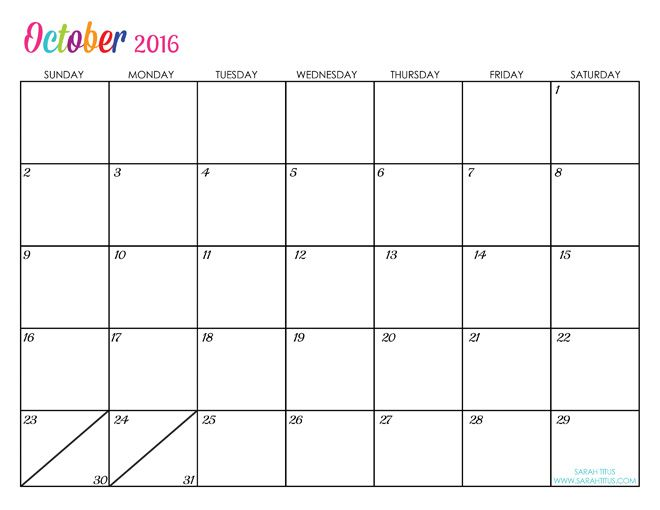 Custom Editable Free Printable 2016 Calendars - Sarah Titus - printable monthly calendar sample