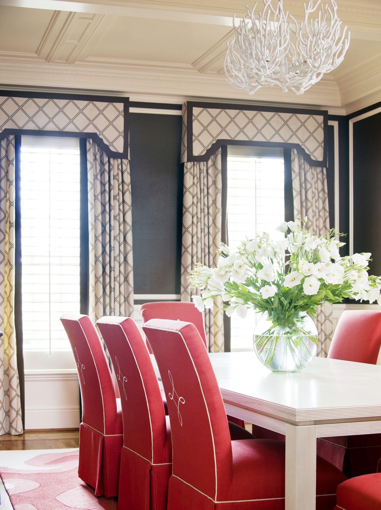 Family Friendly In The City At Home In Arkansas Dining Room Windows Red Dining Room Home Decor