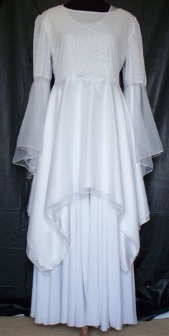 White Silver Bridal Top W Double Skirt Amp Bell Chiffon
