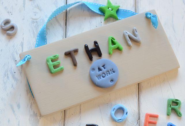 Children's Bedroom Door Sign - coffee & Green £9.95