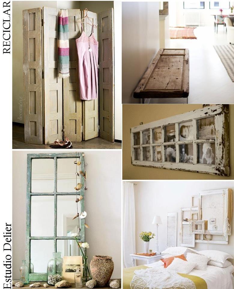 Reciclar puertas viejas decorando pinterest for Reciclar estanterias viejas