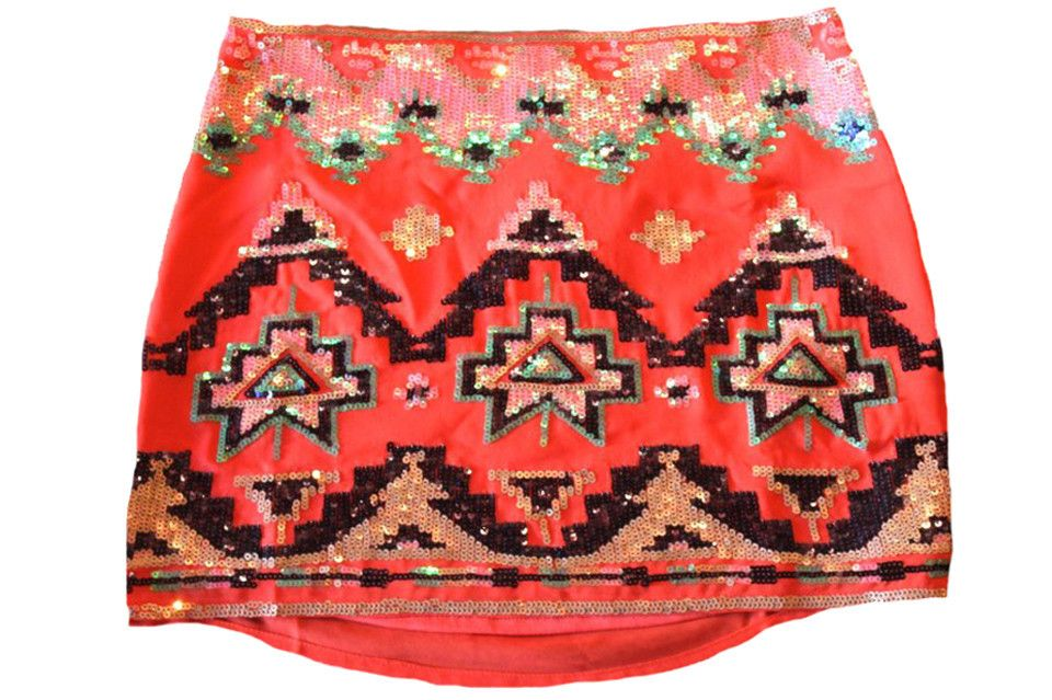Embellished Aztec Skirt in Coral