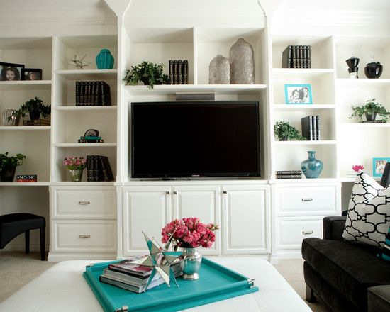 Love The Bw With Turquoise Modern Media Room Design Pictures Captivating Shelves In Living Room Design Design Decoration