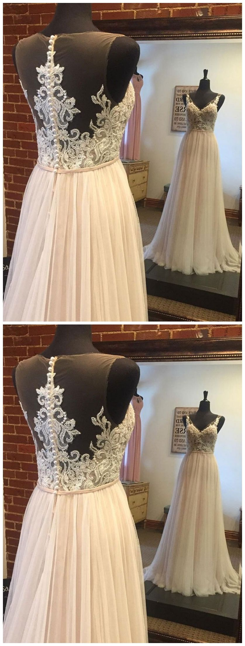 Best dresses to wear to a beach wedding  Aline Lace Appliqued Top Tulle Skirt Summer Beach Wedding Dresses