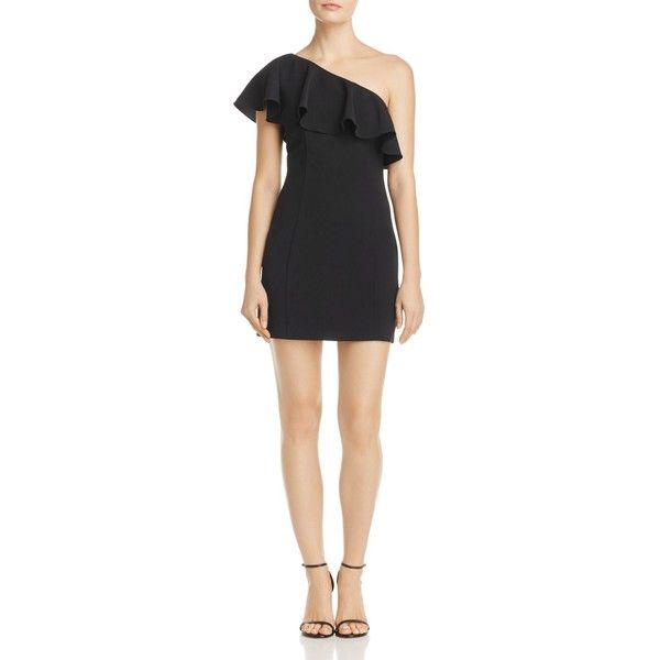 Do And Be One Shoulder Ruffle Dress 100 Exclusive 74 Liked On Polyvore Featuring Dresses Black Short Frilly Mini