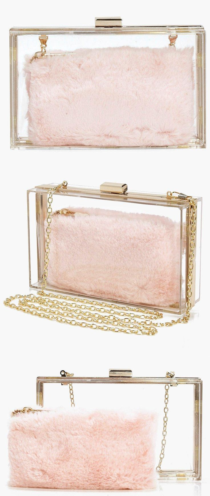 bf5c7caa2d38 Boohoo Womens Anya Clear Faux Fur Purse Clutch Bag in Pink. TWO BAGS in one