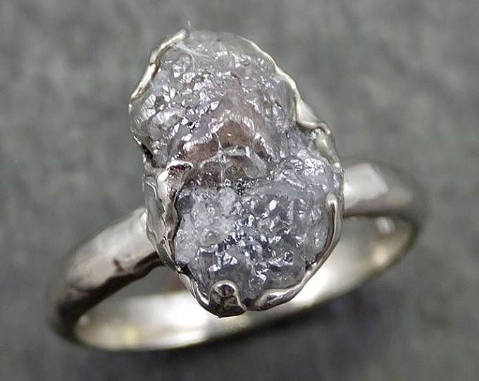 Diamante Bruto De Anillo De Compromiso 14k Oro Blanco Anillo