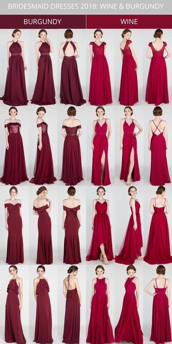 7f98c10ede6 burgundy and wine bridesmaid dresses 2018  bridalparty  bridesmaiddress   weddingcolors  weddinginspiration  bridesmaidsdresses