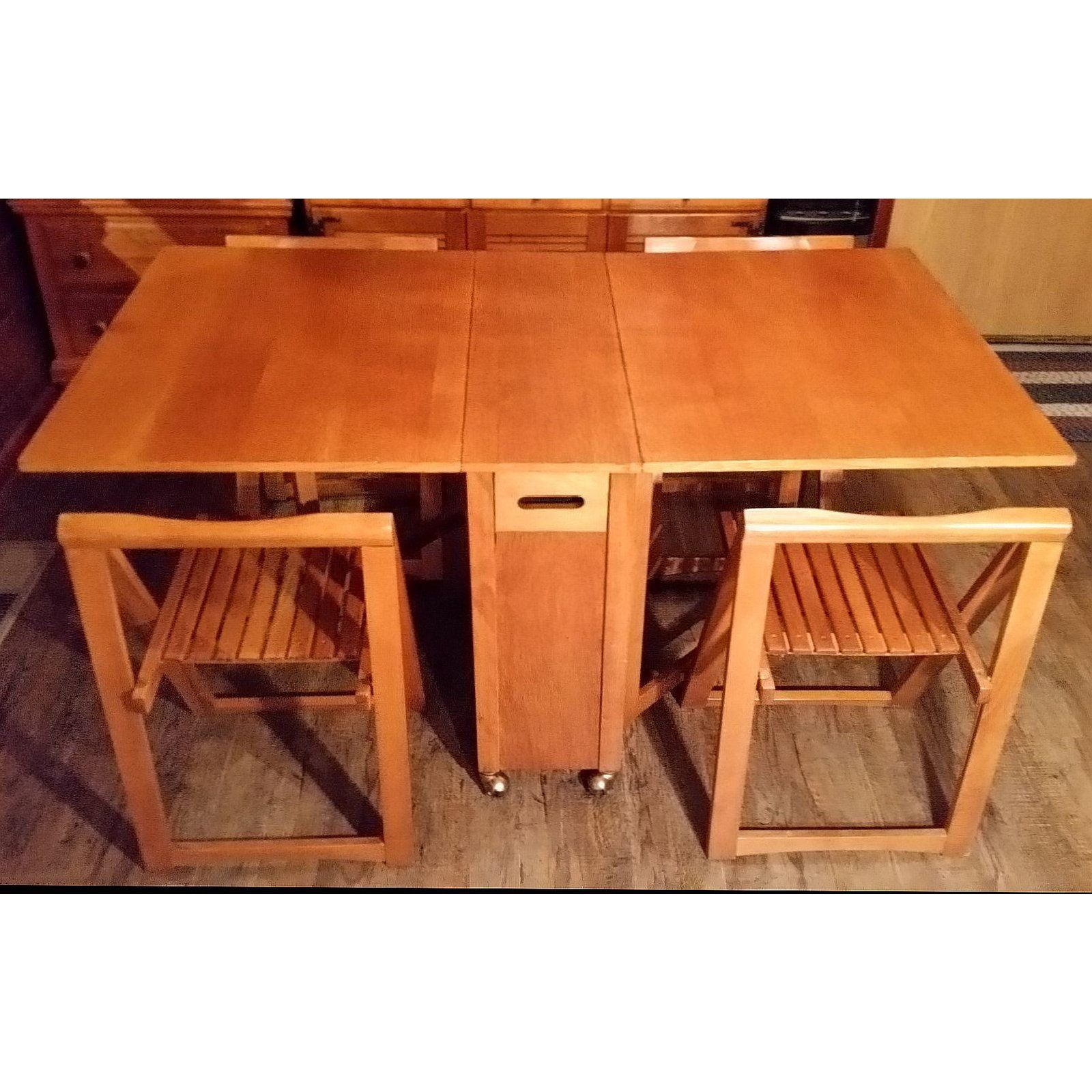 Mid Century Drop Leaf Gateleg Dining Table With Stow Away Folding