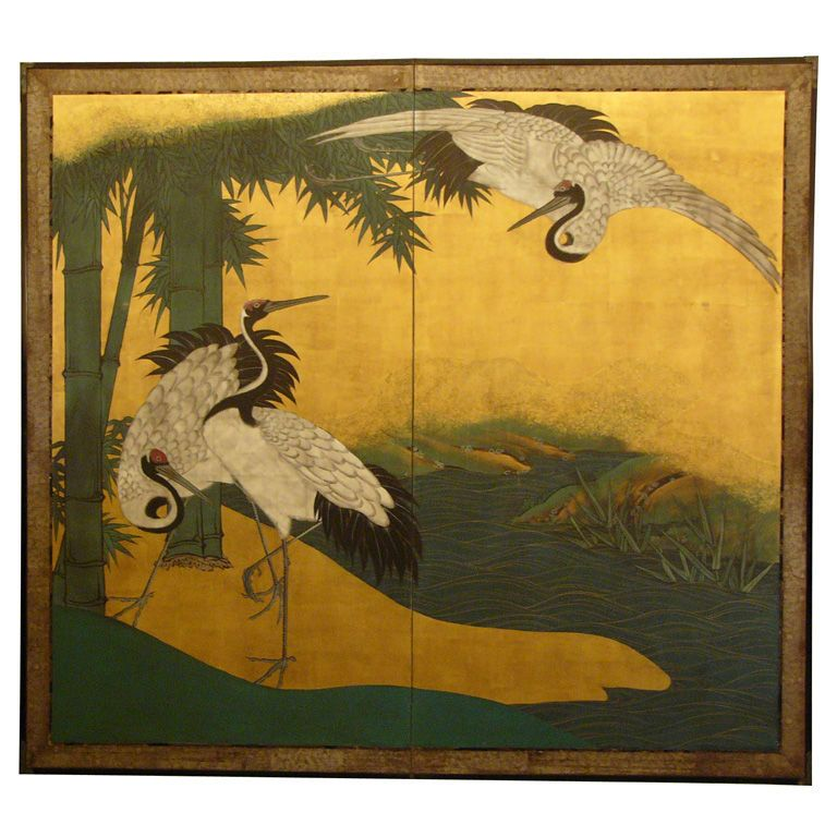 Japanese Screen: Painting of Cranes and Bamboo at Waters edge ...
