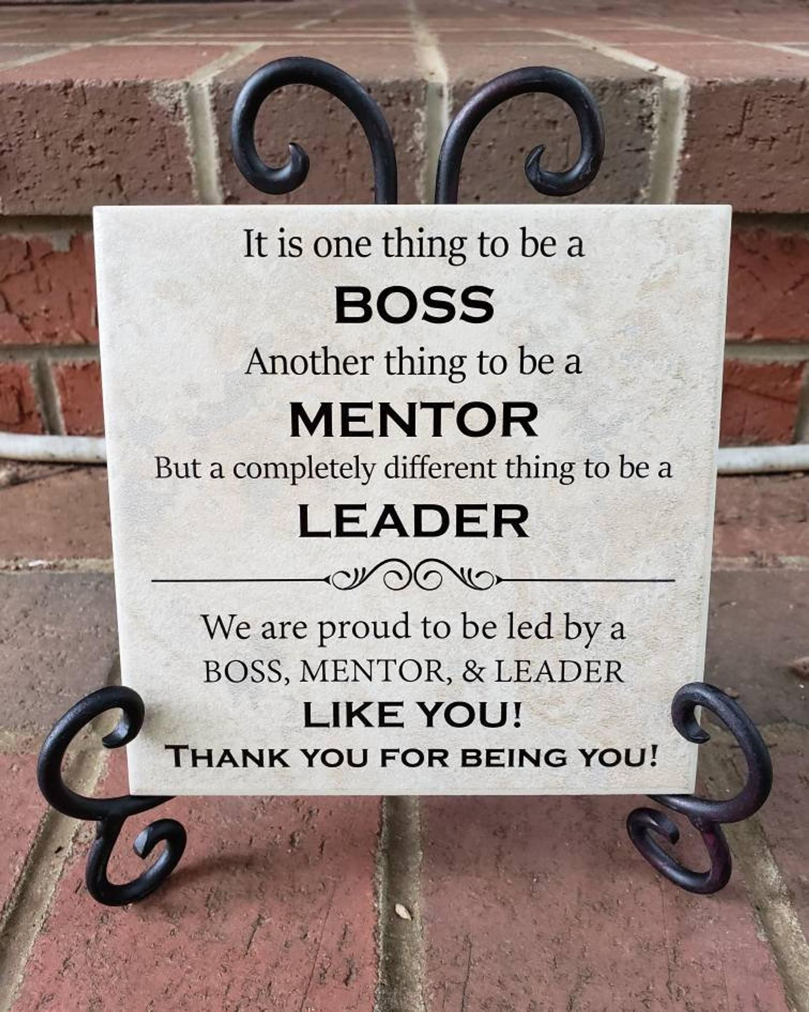 6x6 Thin Tile Plaque Bosses Day gift Boss Day gift Retirement Gift office Art Decor great mentor True Leader Present from group of coworkers