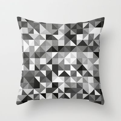 pillow pattern bw #2 Throw Pillow by Mads Hindhede Svanegaard - $20.00