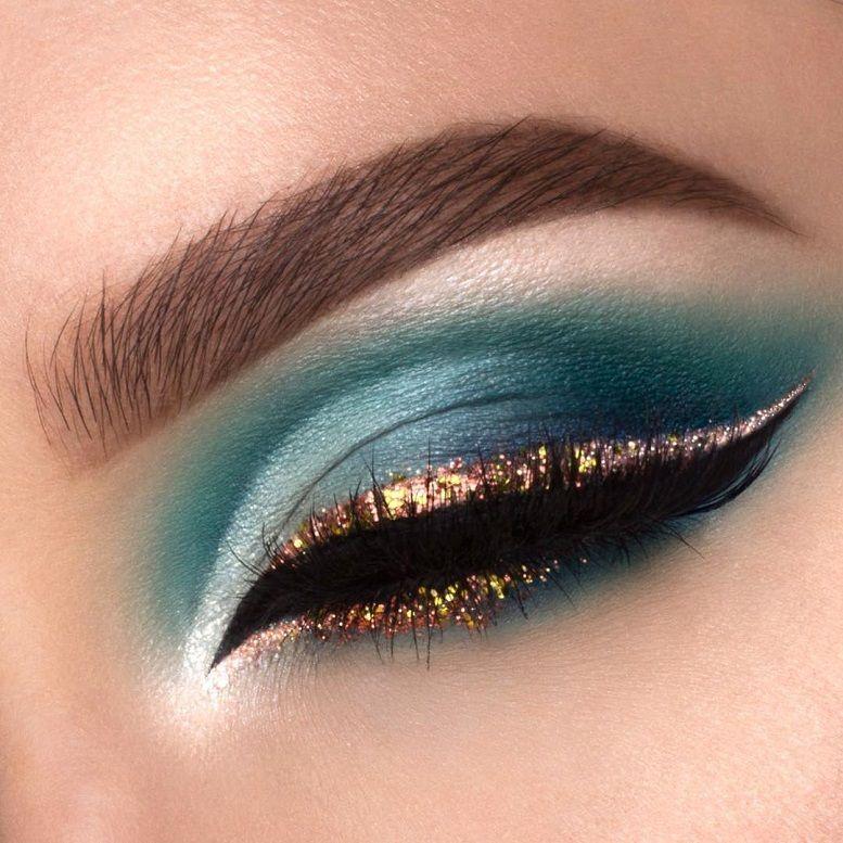 Shades of blue green eye makeup