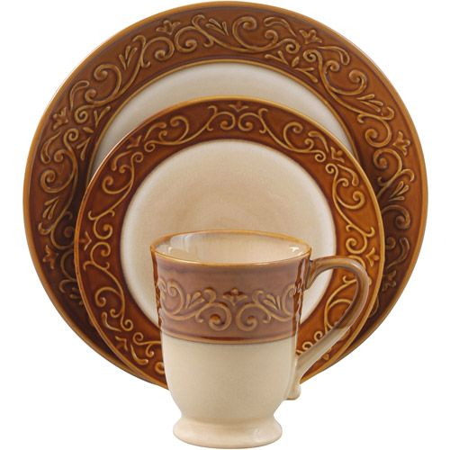 Better Homes and Gardens Embossed Scroll 16-Piece Dinnerware Set - Walmart.com  sc 1 st  Pinterest & Better Homes and Gardens Embossed Scroll 16-Piece Dinnerware Set ...