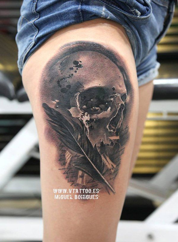 100 awesome skull tattoo designs feather tattoos tattoo designs and tattoo. Black Bedroom Furniture Sets. Home Design Ideas