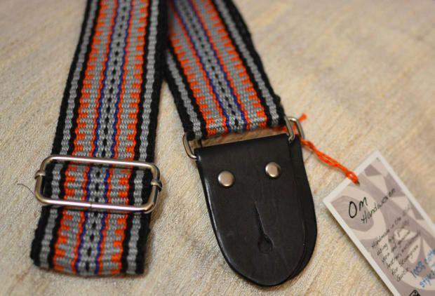 Om Handwoven Guitar Strap 2015 cotton/black, silver, orange | Reverb.com.  Handmade, strong, comfortable, and unique high quality guitar straps. #omhandwoven #guitarstrap #gear #guitar