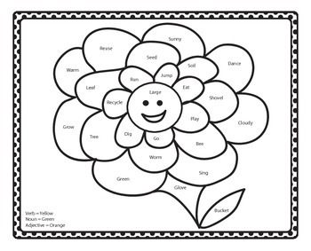 Here is a coloring sheet that is color by the word type