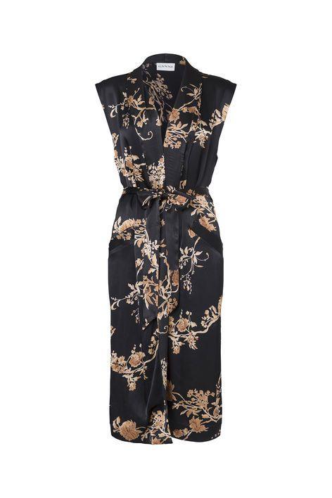 Gold St. Satin Kimono Dress, Golden Leaves | Treat Yo Self ...