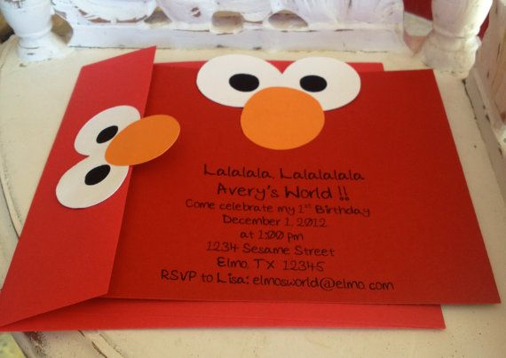 Handmade Custom Elmo Invitations With Envelopes By Whimzycreations 2500