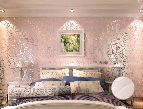 High-grade Rose Flower Pattern Flocking Wallpaper Roll Living Room ...