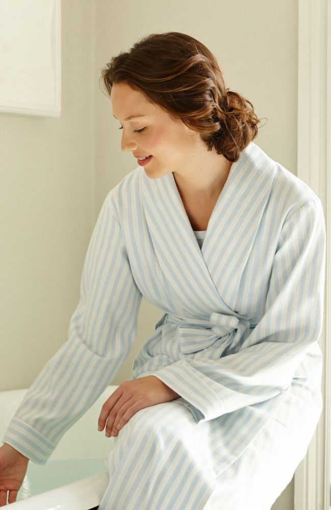 Brushed cotton Bonsoir Striped Dressing Gown is a total classic in ...