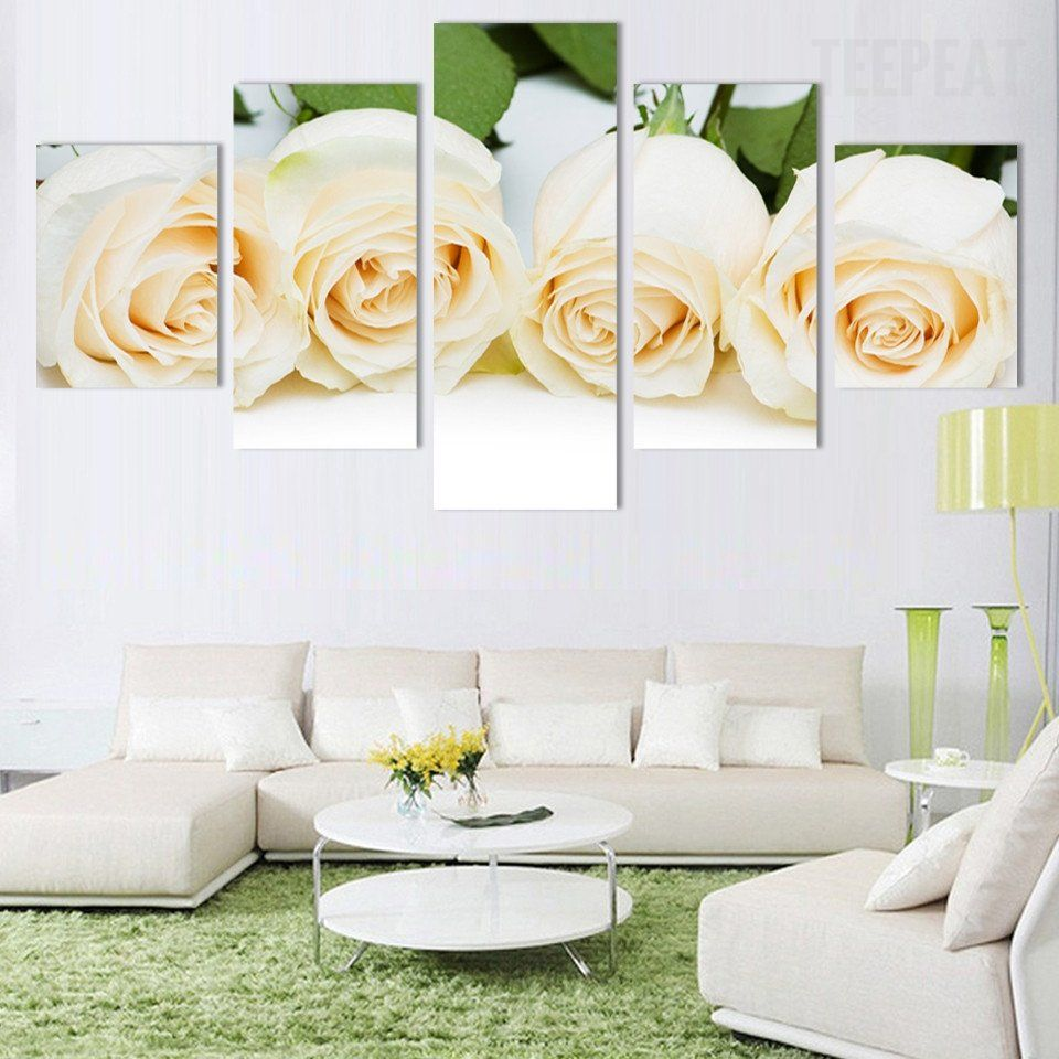 White Rose Flowers Painting 5 Piece Canvas In 2020 Flower