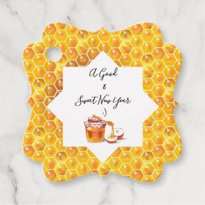Happy Rosh Hashanah Jewish New Year Honey & Apple Favor Tags | Zazzle.com
