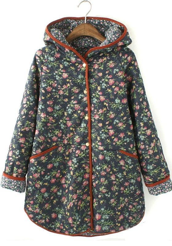 Floral Coat Multicolor Padded Sleeve Cotton Blend Long Бохо WTwRgwq7