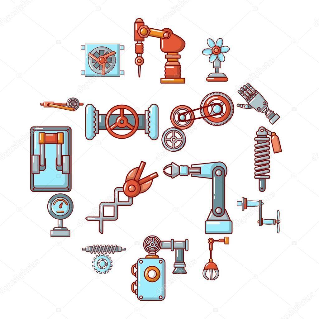 Conjunto De Iconos De Mecanismos Tecnicos Dibujos Animados De Ilustracion De Iconos De Vector De 16 Mecanismos Tec Conjunto De Iconos Estilos De Dibujo Iconos