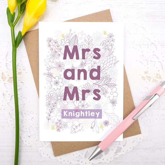 Personalised Mrs and Mrs wedding or engagement card. Also available as Mr and Mr or Mr and Mrs.
