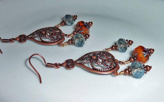 Copper Bohemien Earromgs Crystal Chandelier by JewelrybyJacobe