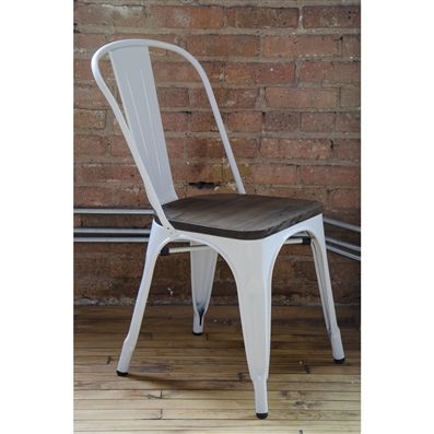 White Elm Wood Seat Side Chair | Amalfi Steel Stackable White Elm Wood Seat  Side Chair