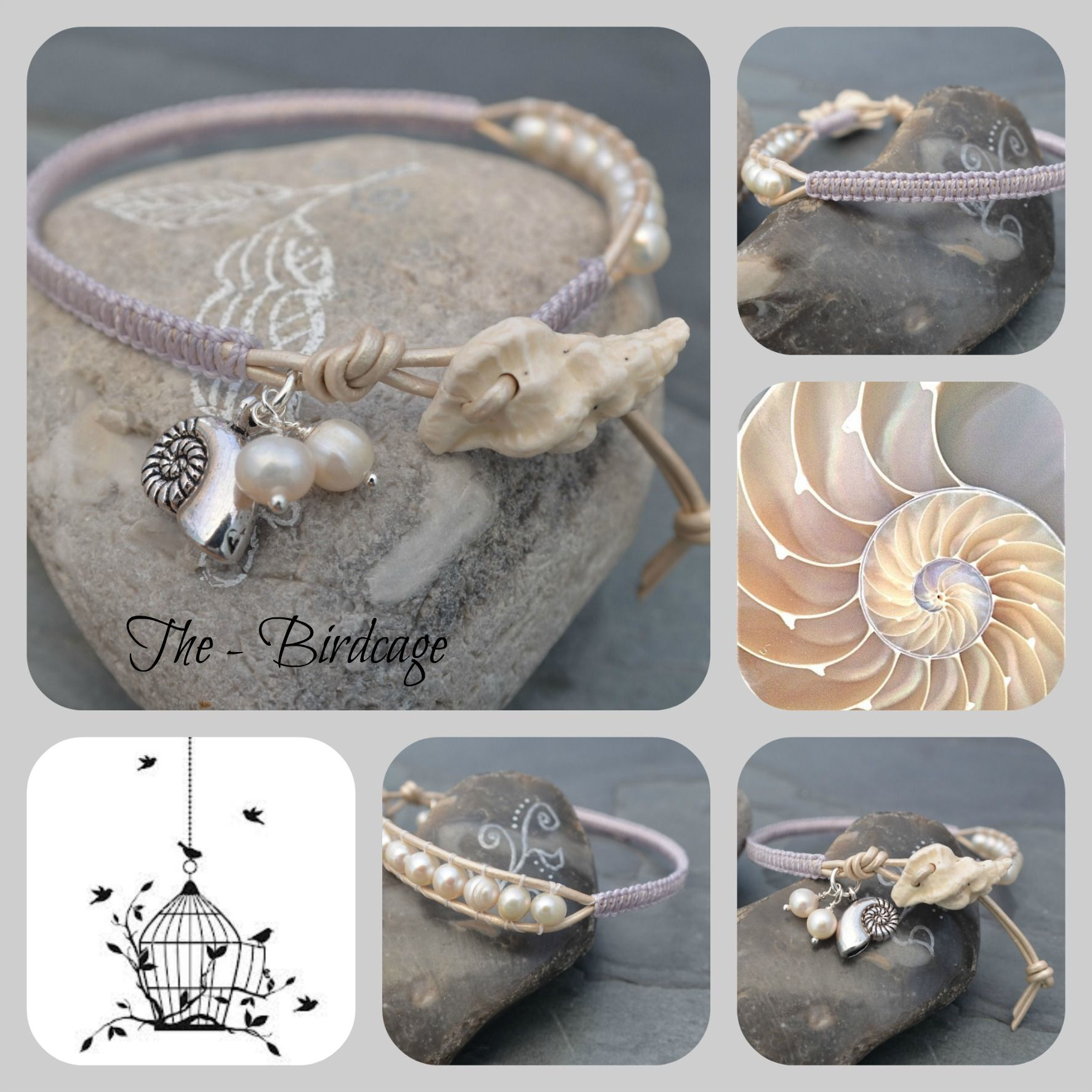 Freshwater Pearl Anklet with ceramic Shell Button www.facebook.com/the-birdcage
