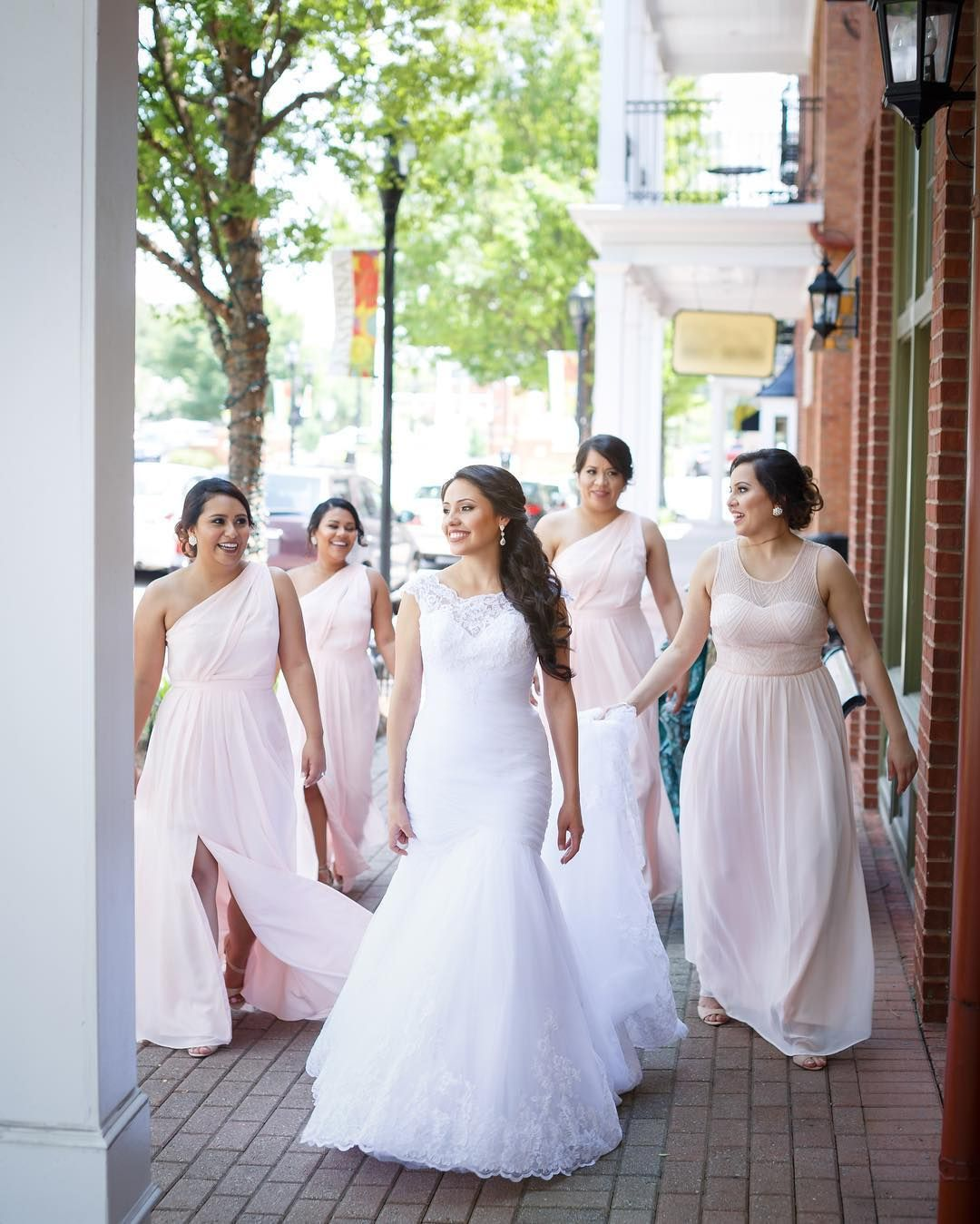 David S Bridal Bridesmaids In Mis Matched Petal Pink Long