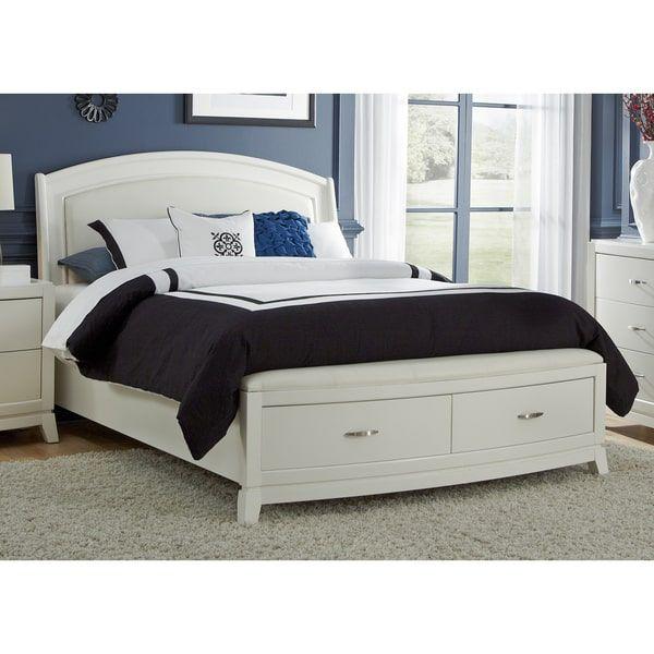 White PU Leather Storage Platform Bed Set Bedroom Pinterest