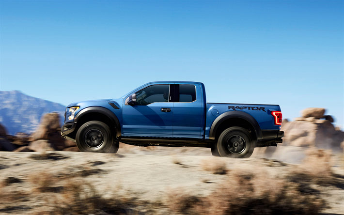 Download Wallpapers Ford F 150 Raptor 2017 Blue Pickup F 150 Desert American Cars Driving Through The Sand Ford Besthqwallpapers Com Ford F150 Raptor Ford Raptor 2017 Ford Raptor
