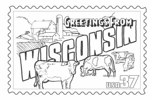 Wisconsin Stamp Coloring Page