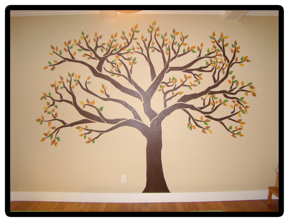 Creative family tree ideas family tree mural smaller for Family tree picture wall ideas