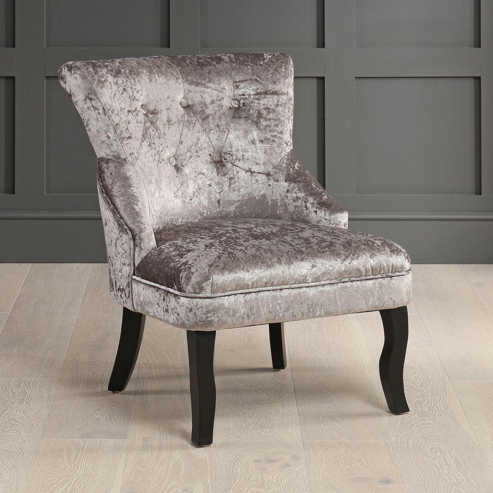 Vogue Silver Velvet Bedroom Chair with Black Legs