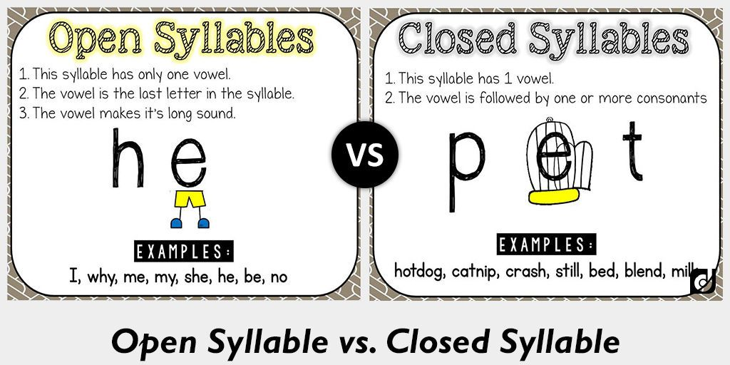 difference between open and closed syllable