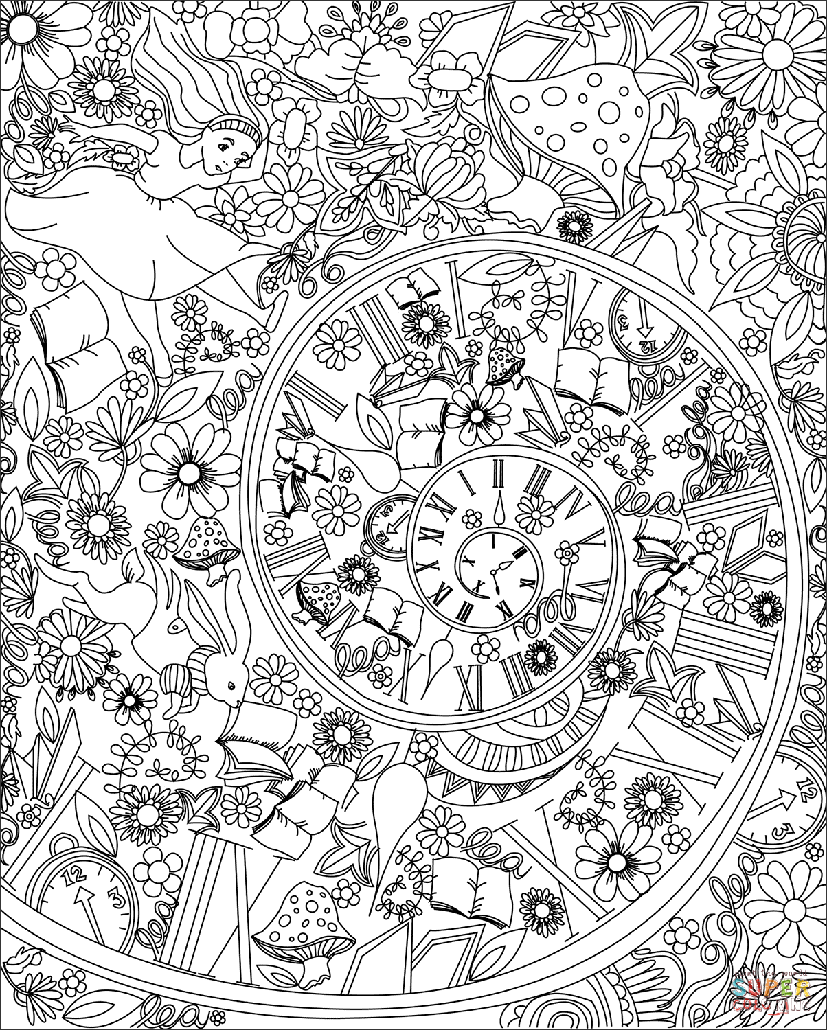 Alice falling down the rabbit hole coloring page from zentangle
