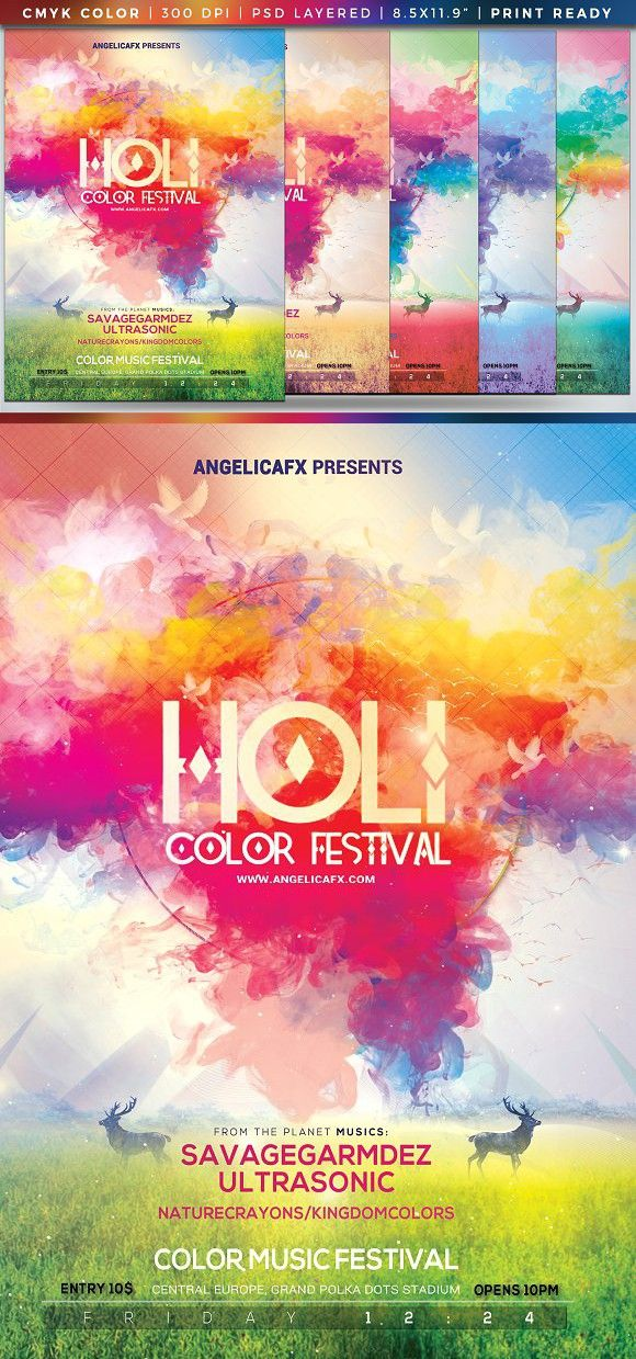 Holi Color Festival Poster Template  Holi Colors Holi And