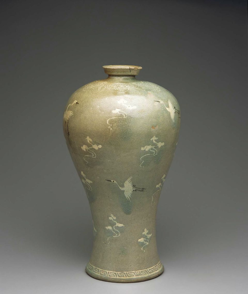 13th century celadon maebyeong shaped vase with cranes in flight 13th century celadon maebyeong shaped vase with cranes in flight korean goryeo dynasty reviewsmspy
