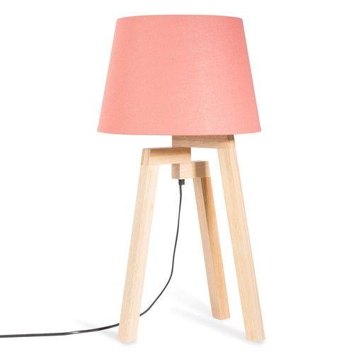 Superb Dreibein Lampe aus Holz mit koralle Lampenschirm H cm