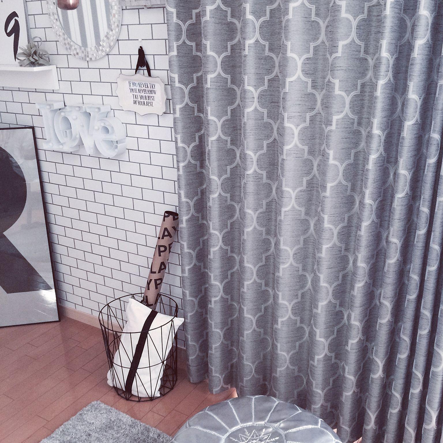 部屋全体 サブウェイタイル風壁紙 フランフラン ワイヤーバスケット